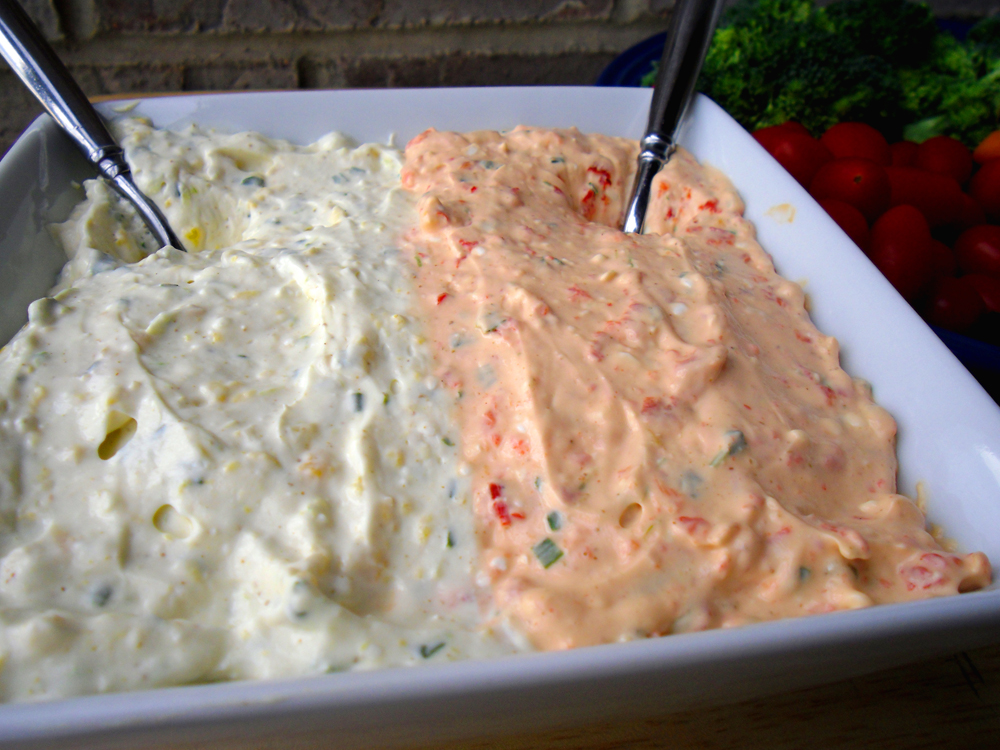 Roasted Peppers Dip and Veggies at Food Apparel
