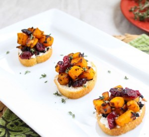 butternut squash, cranberry and goat cheese crostini