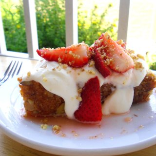 Almond Pound Cake with Strawberries in Lemon Syrup at FoodApparel.com