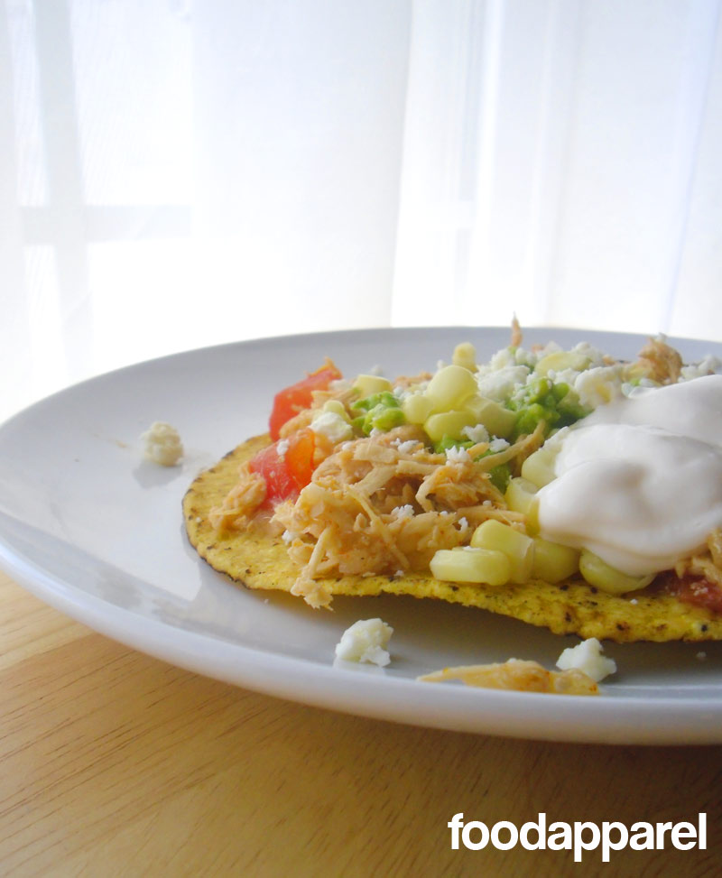Crockpot Chicken Tostadas at FoodApparel.com