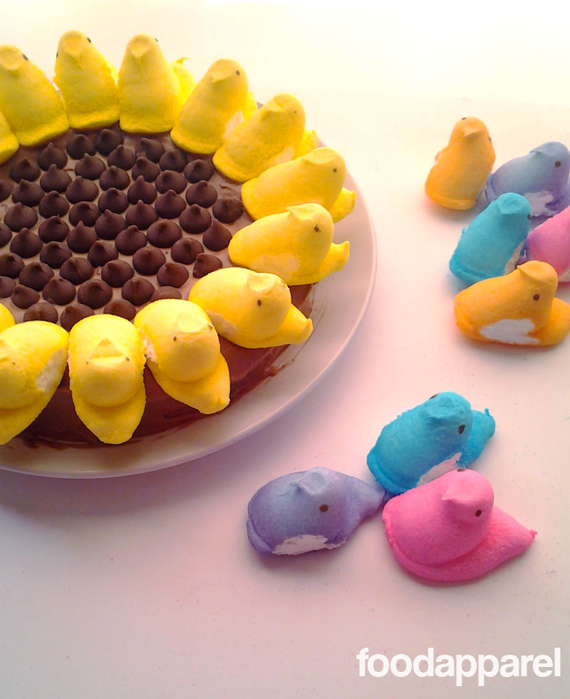 Malted Chocolate Peeps Sunflower Cake with Malted Chocolate Frosting at FoodApparel.com
