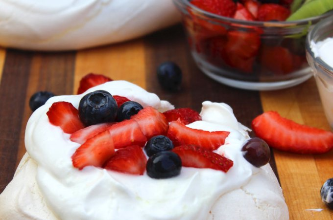 Pavlova with Yogurt Whipped Cream at FoodApparel.com