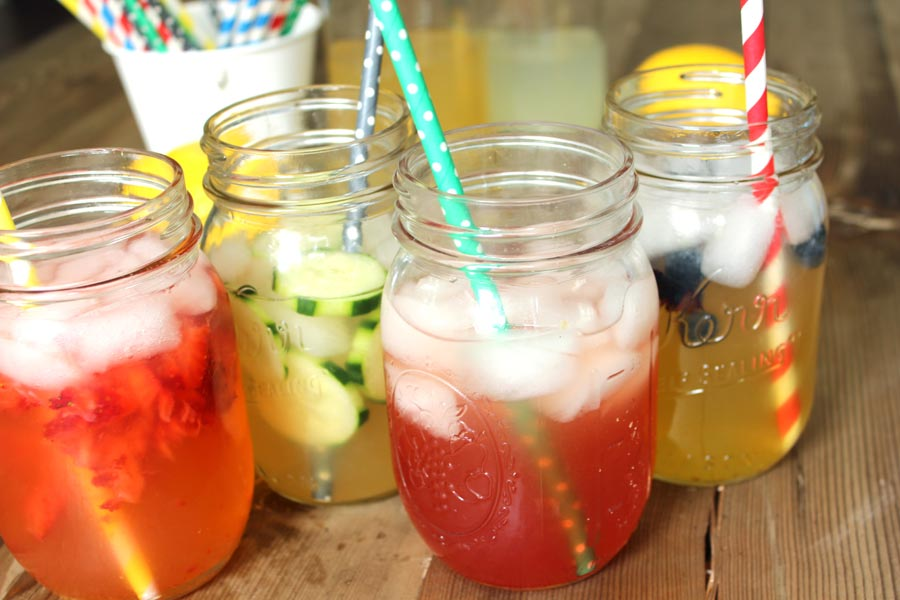 Host your own lemonade bar! Tons of ideas and recipes for syrups, fruit mix-ins, and more.