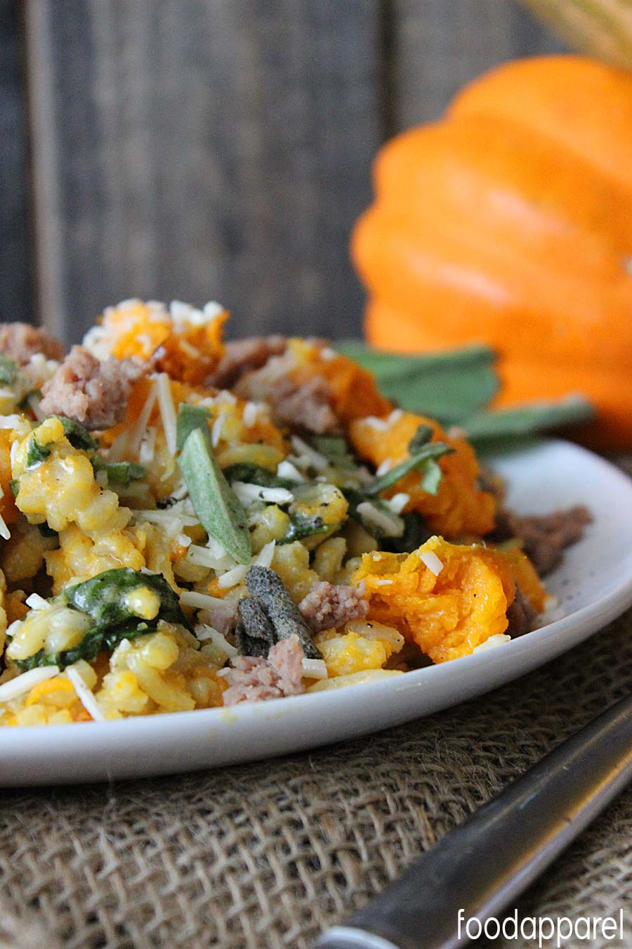 Butternut Squash Risotto with Sage and Turkey Sausage Recipe. Perfect for Fall and Thanksgiving! @foodapparel