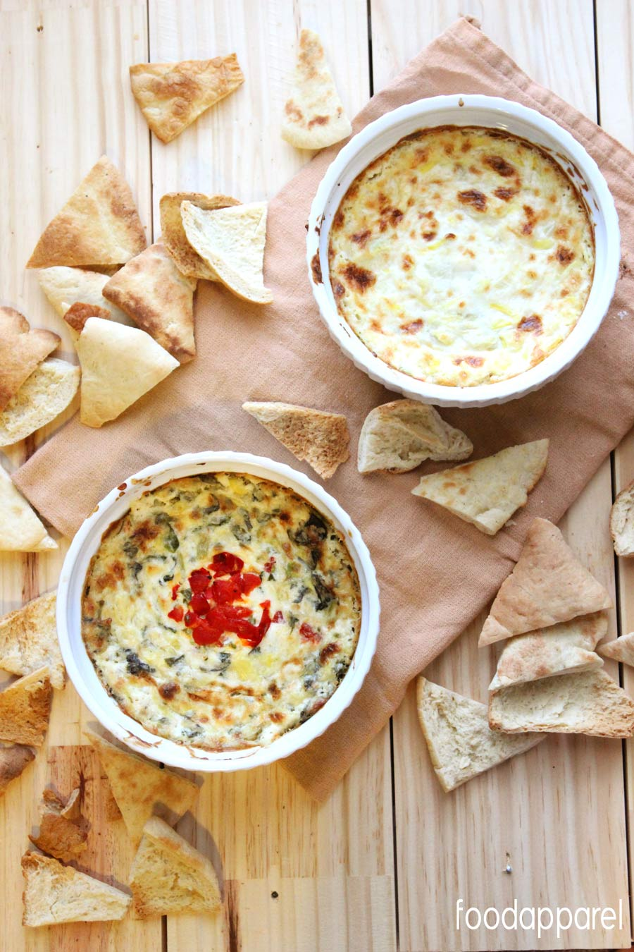 Hot Cheesy Spinach and Roasted Red Pepper Artichoke Dip Recipe - it will be the first thing to disappear at the appetizer table! @foodapparel