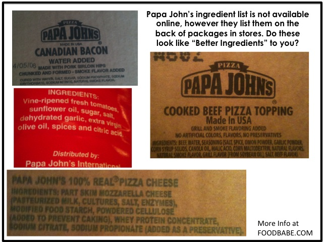 Papa Johns Ingredients