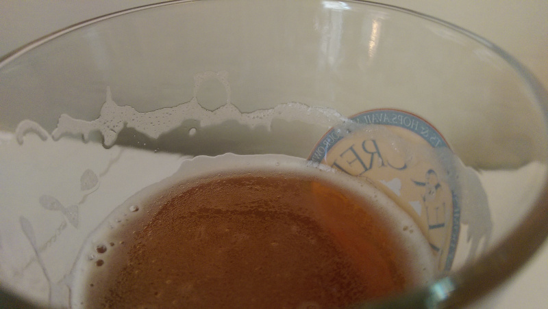 Fish Tale IPA leaves a slight lacing as consumption ensues.