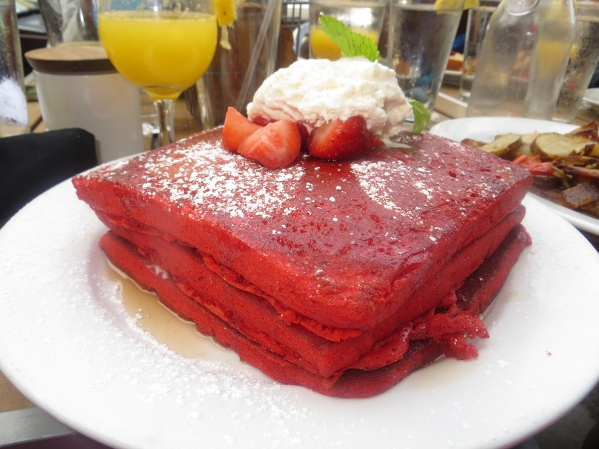 Red Velvet Pancakes - Green Eggs Cafe
