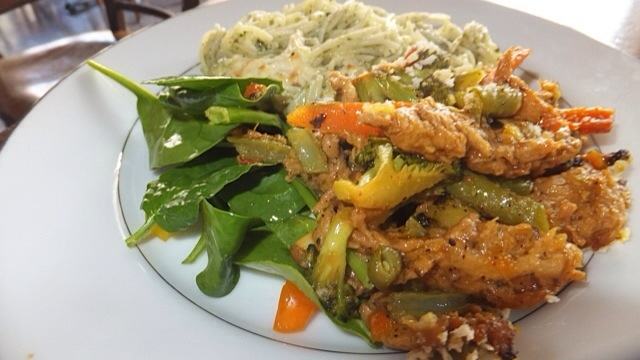 Crawfish x Spinach Salad x Spinach Pesto Mozzarella Pasta
