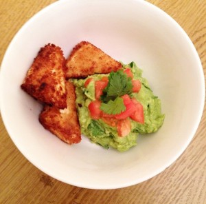 Fried Tofu Bites with Guacamole