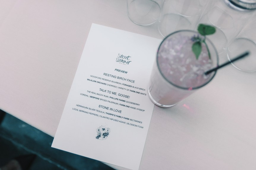 Secret Summer NYC Cocktail Menu