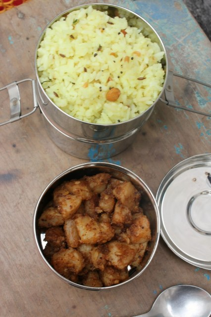 lemon rice and potato kari