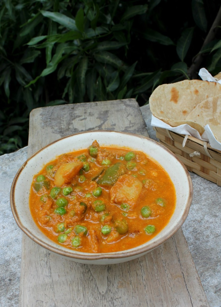 Capsicum Aloo Mutter | Capsicum, Peas and potato curry