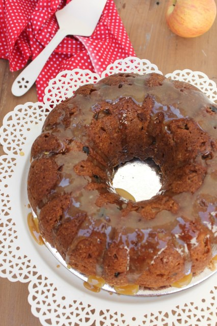 eggless apple cake with brown butter glaze