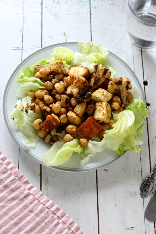 Roasted cauliflower, paneer and chickpeas salad - weightloss meal