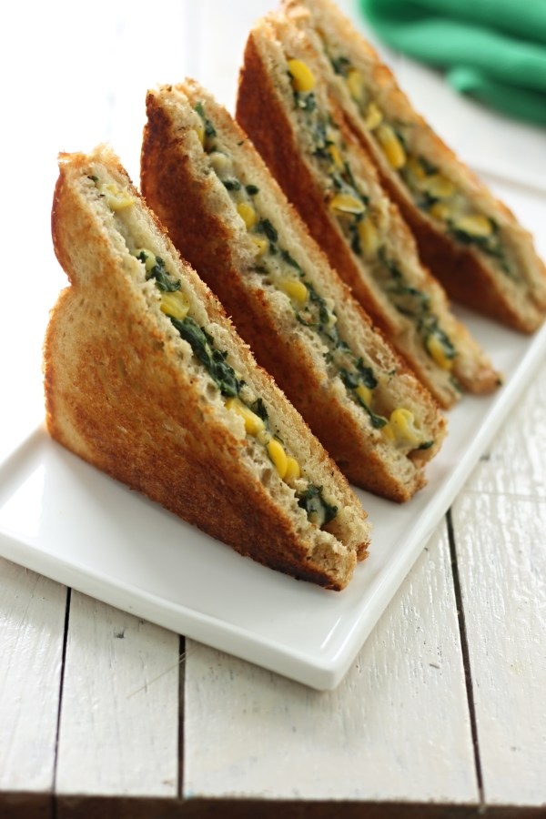Corn and Spinach sandwich