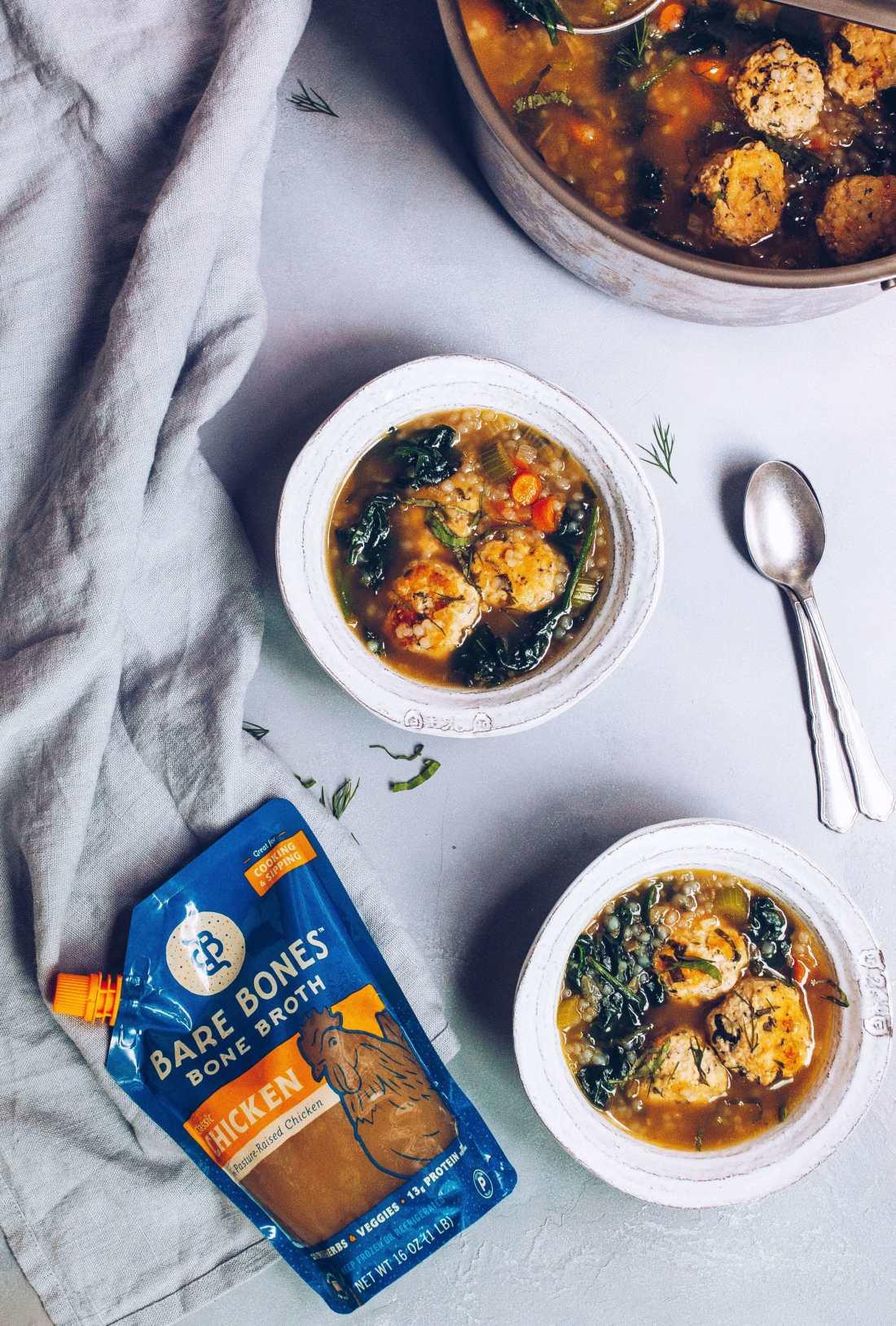 Chicken Florentine Bone Broth Soup (AIP, Paleo) via Food by Mars