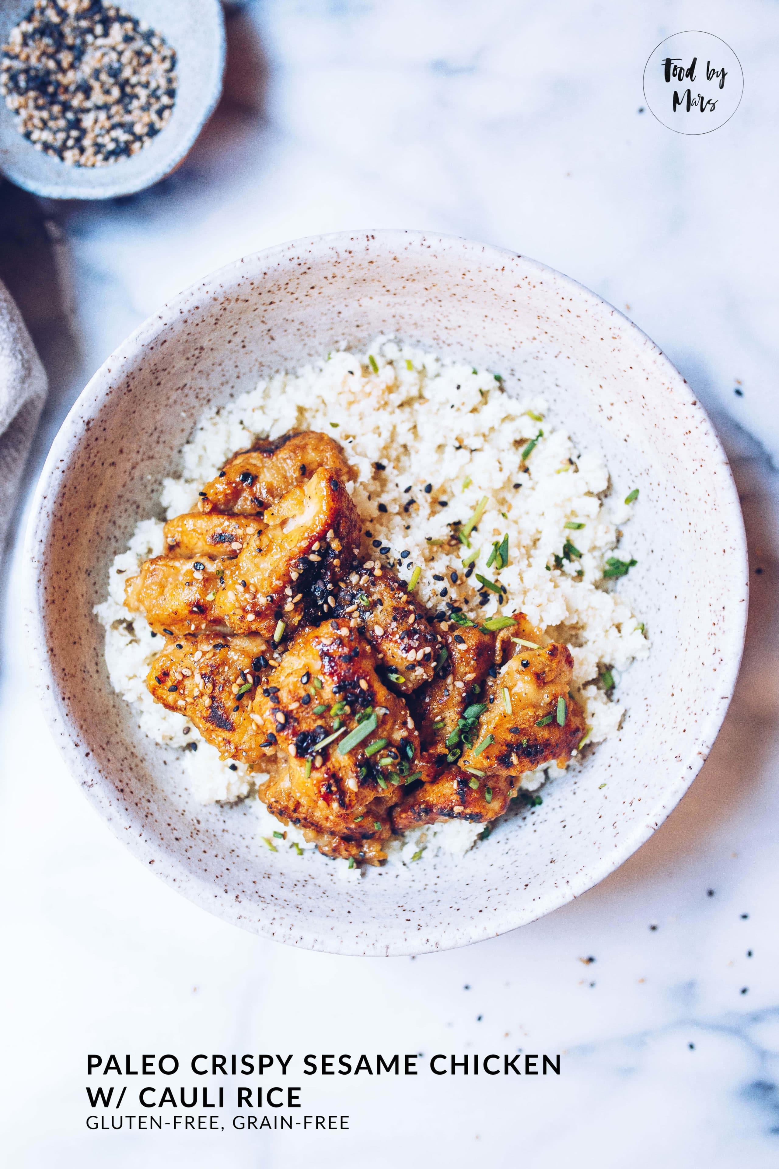 Paleo Crispy Sesame Chicken with Cauli Rice via Food by Mars