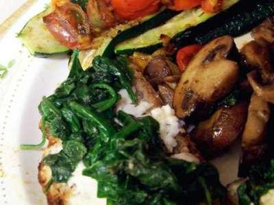Garlic Greens Crostini & Veggies