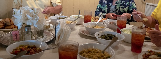 Southern dishes passed around the table