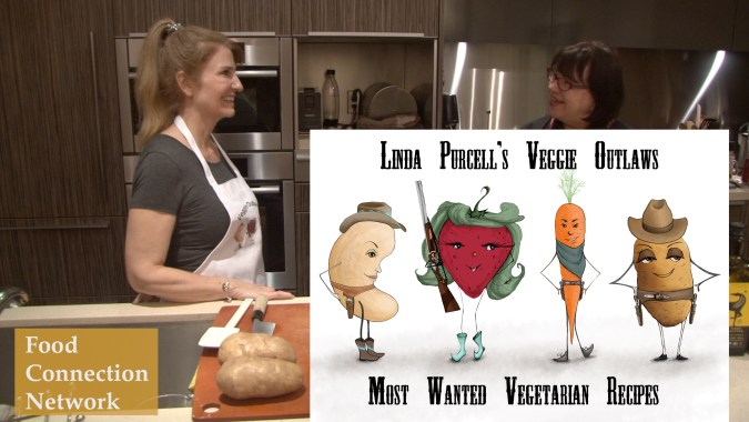 Linda Purcell demonstrates prepare her Unfries and Spicy Chipotle Aioli from Veggie Outlaws Most Wanted Vegetarian Recipes