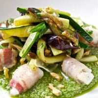 Monkfish with pancetta, veggies and basil pesto