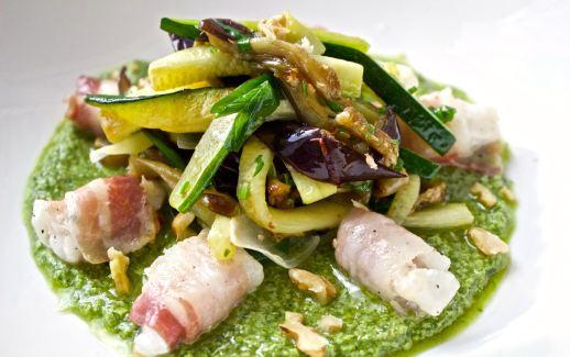 Monkfish with Pancetta and veggies