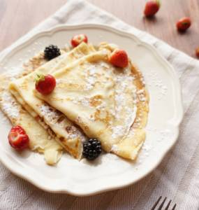 Frech crepes, freshly made with fruits