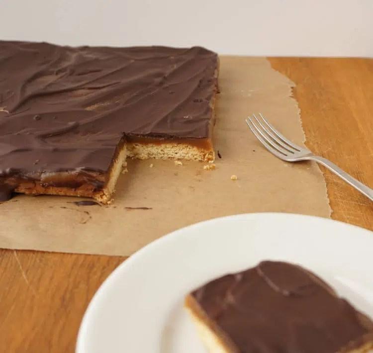 caramel bars, millionaire shortbread, shortbread, caramel & chocolate