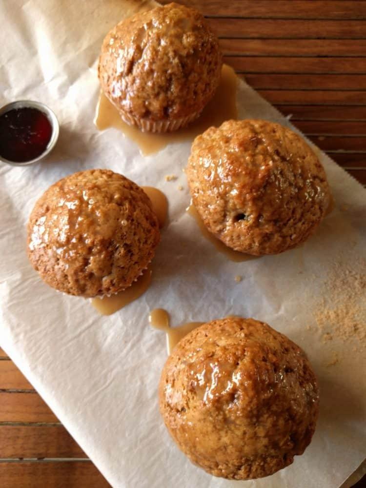 spiced muffins with coffee glaze