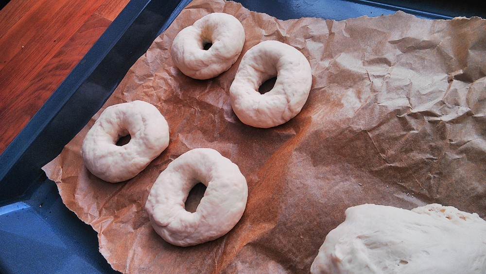 bagels, ready to be boiled