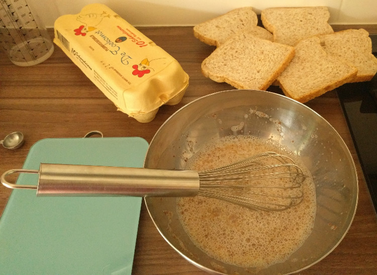 making french toast, the batter and bread