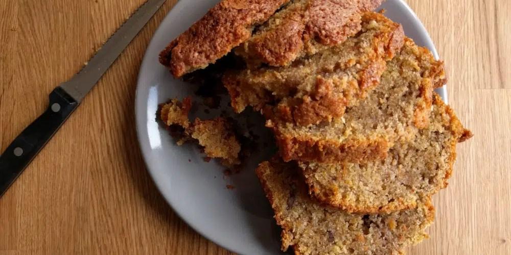 carrot walnut cake, sliced freshly baked