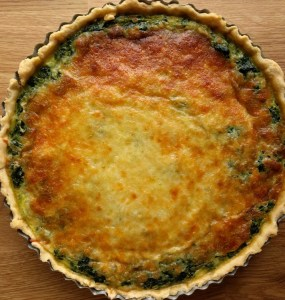 spinach quiche with nice brown cheese topping