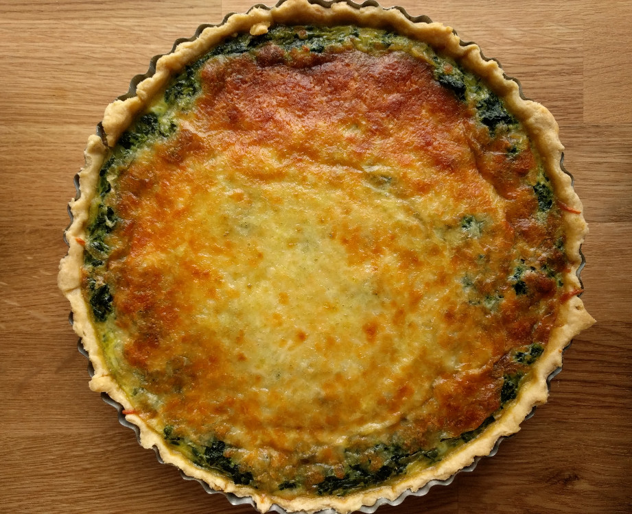 Spinach quiche – On the science of melty (brown) cheese