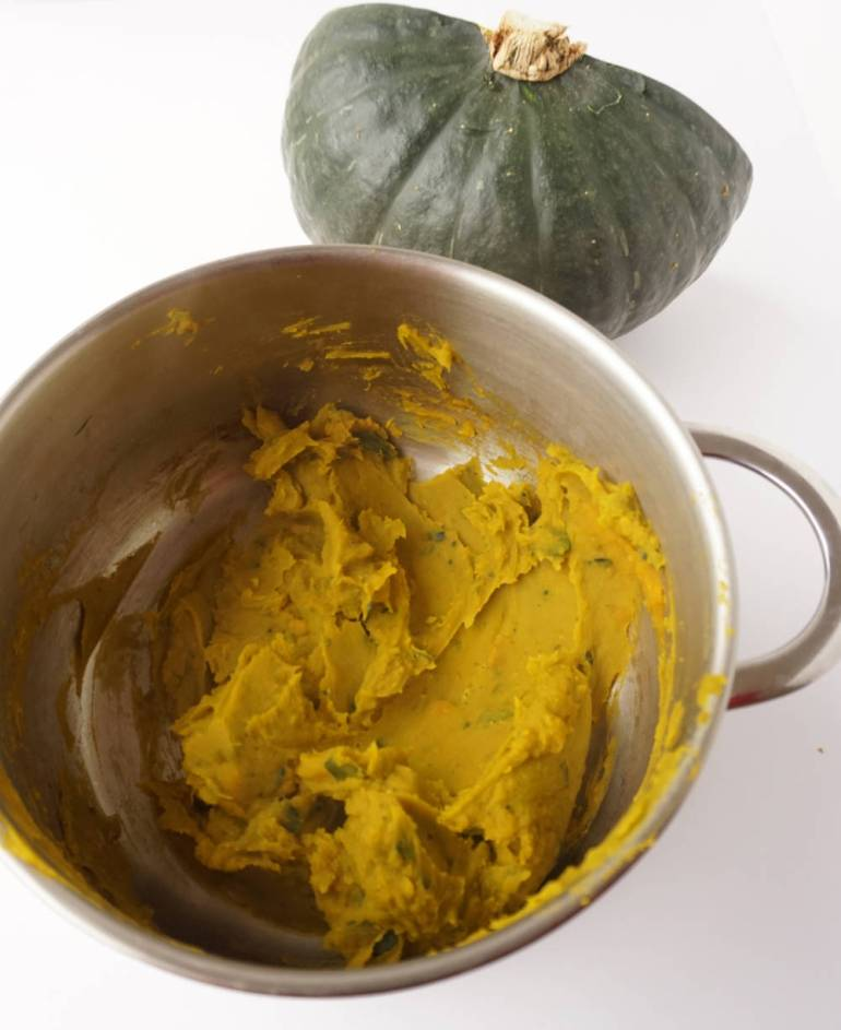 pumpkin puree from the kabocha pumpkin