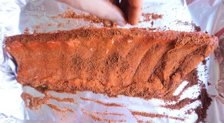 raw rubbed spare rib