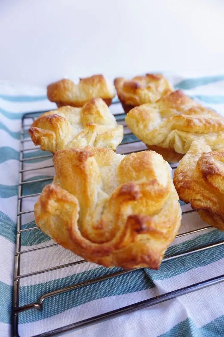 freshly baked kouign amann close up