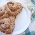 three roquefort walnut bread rolls