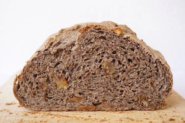 cross section of buckwheat walnut bread