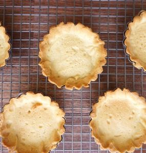 top view of small pate sucree tart shells