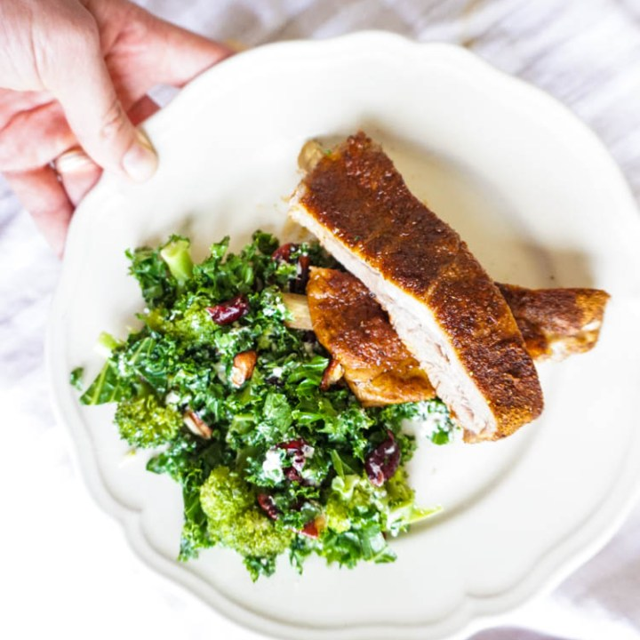Instantpot ribs with kale salad