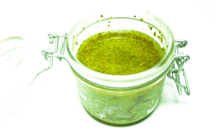 freshly made basil pesto