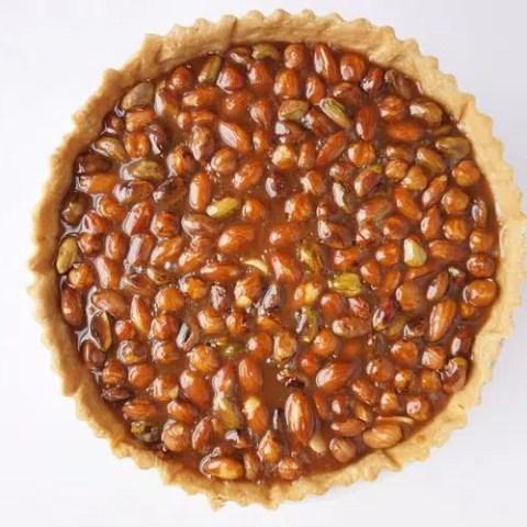top view of nut caramel tart