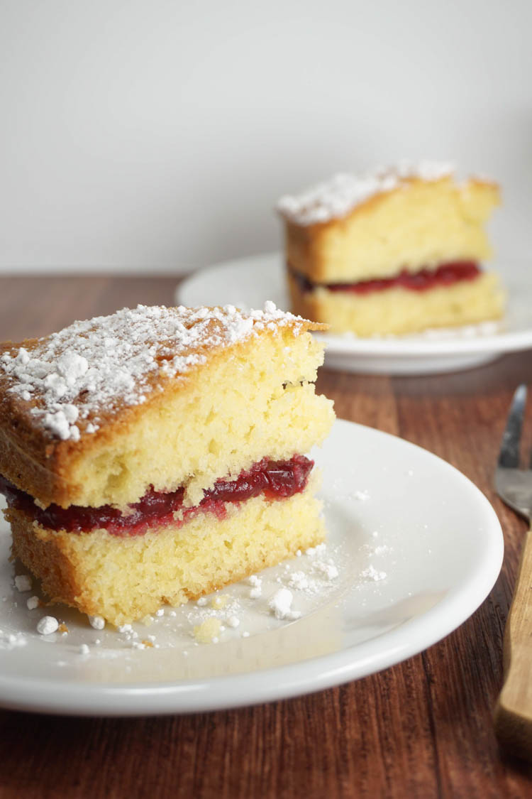 two slices of victoria sandwich