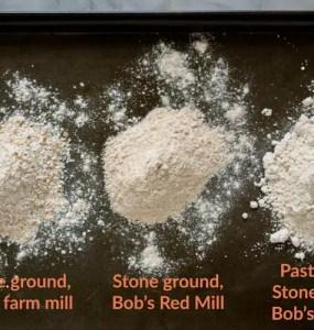 three whole wheat flour types