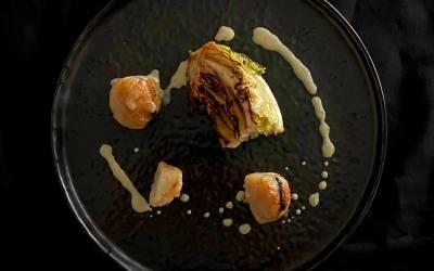 St Jacques à l'ail noir, choux grillé et sauce au citron bergamote