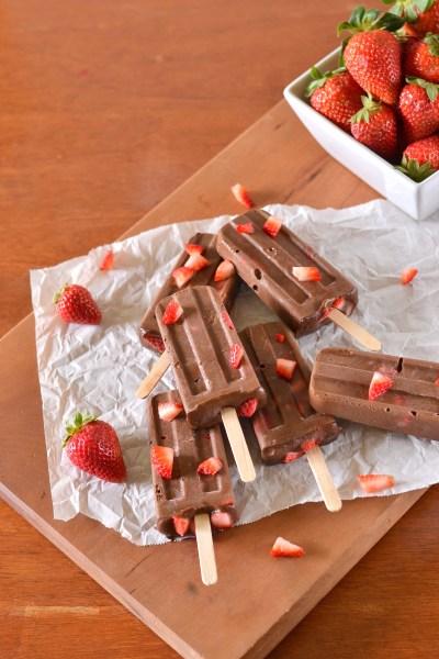 Vegan Chocolate Covered Strawberry Fudgesicles Image