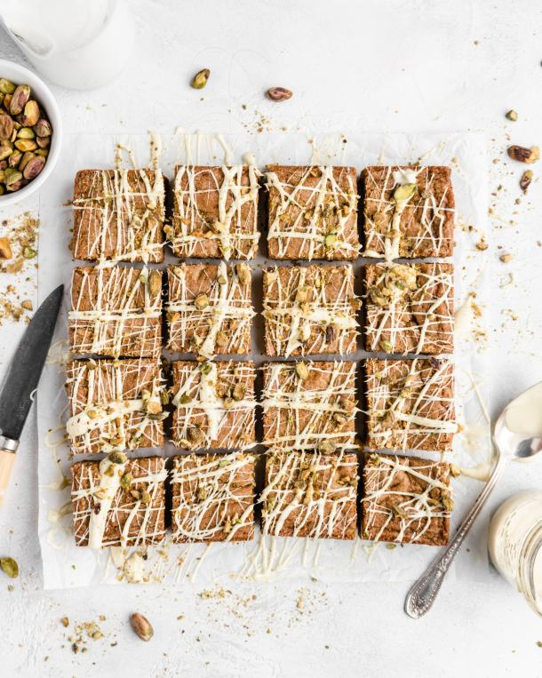 Thick, chewy, and deeply sweet, these White Chocolate Pistachio Blondies are incredibly delicious