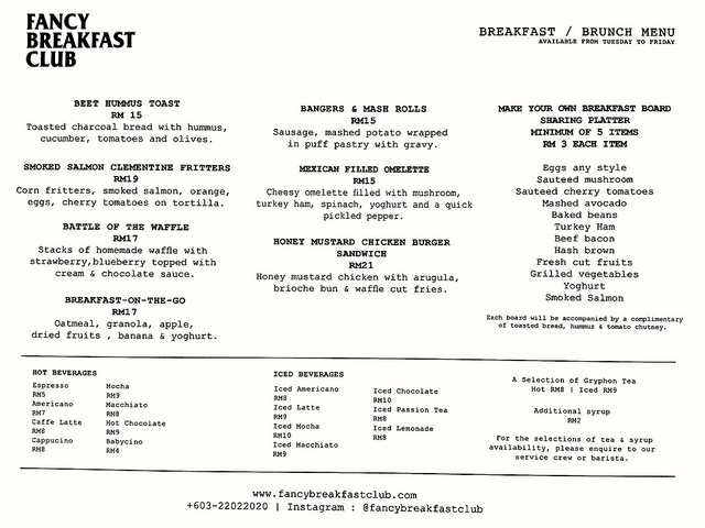 Fancy Breakfast Club @ Bangsar - Menu